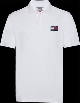 Polo Tommy Jeans Badge Blanco Hombre