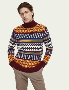 Lightweight wool-blend  Fair Isle turtleneck pull