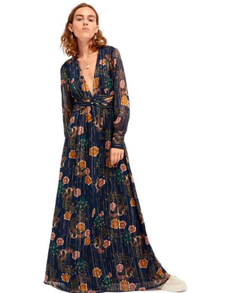 Printed maxi dress in sheer lurex stripe quality