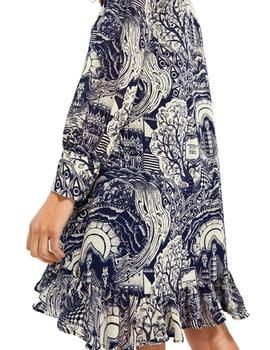 Storytelling shorter length dress with V-neck